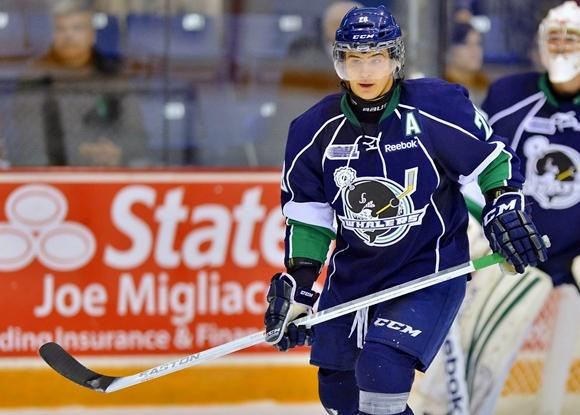 Carrick rocks an 'A' with the Plymouth Whalers last season. (Terry Wilson/OHL Images)