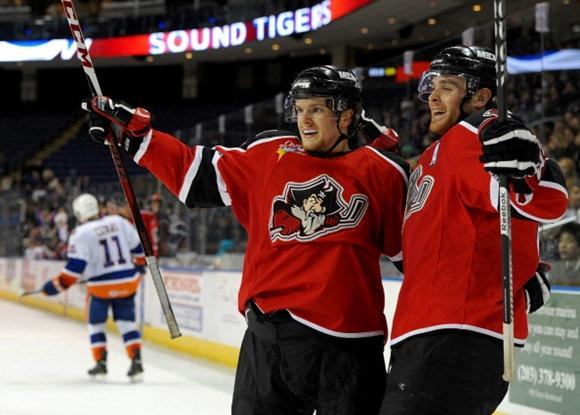 Brendan Shinnimin (left) and Jordan Szwarz - Portland Pirates