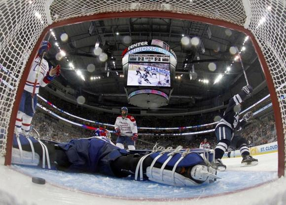 Connor Hellebuyck and Kenny Agostino - 2013 NCAA Frozen Four