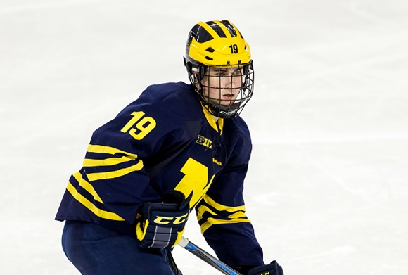 Photo: Detroit prospect Dylan Larkin has helped the Michigan Wolverines become the nation's most potent offense this season. (courtesy of Richard T. Gagnon/Getty Images)