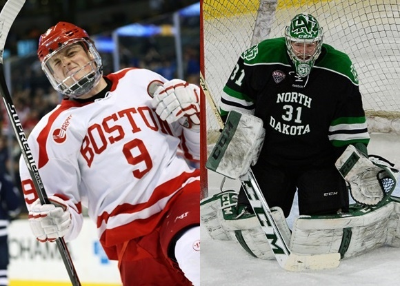 Jack Eichel - Boston University; Zane McIntyre - University of North Dakota - 2015 NCAA Tournament, Northeast and West Regionals