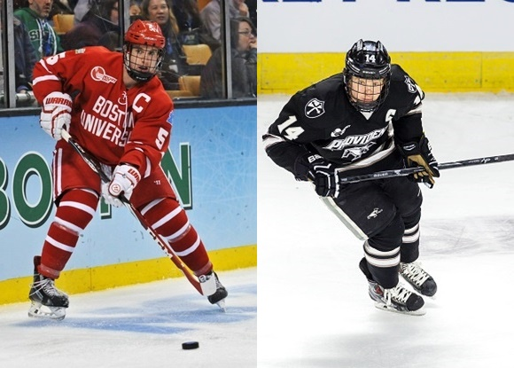 Matt Grzelcyk - Boston University; Ross Mauermann - Providence College - 2015 Frozen Four Championship Game Captains