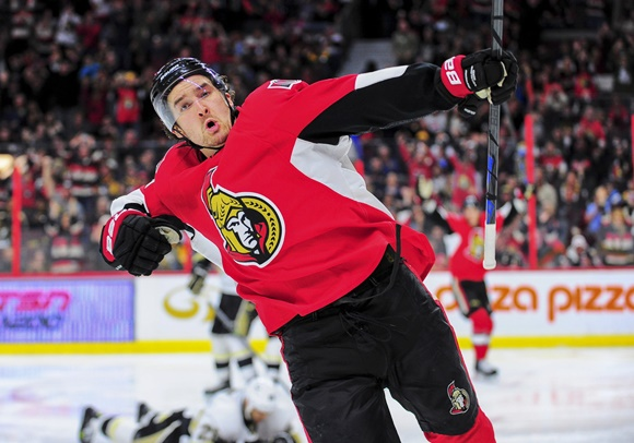 Photo: Mark Stone had 26 reasons to show off his trademark post-goal fist pump this season with the Ottawa Senators (Courtesy of Steven Kingsman/Icon Sportswire)