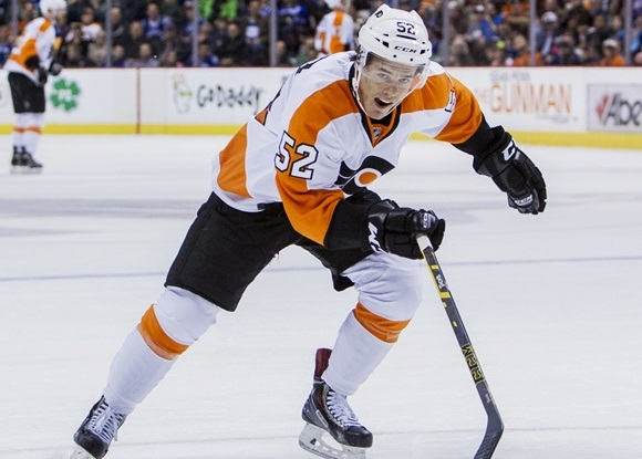 Photo: Nick Cousins led the Lehigh Valley Phantoms in scoring, with 56 points (22 goals, 34 assists) in 64 games. (Courtesy of Bob Frid/Icon Sportswire)