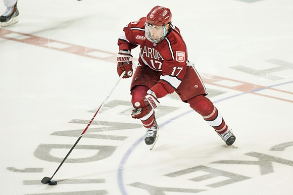 Photo: Sean Malone scored eight goals and 10 assists for Harvard this season, despite being limited to 21 games. (Courtesy of Zach Bolinger/Icon Sportswire)