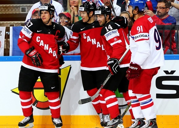 Sidney Crosby, Taylor Hall, and Jordan Eberle - Team Canada - 2015 IIHF Ice Hockey World Championship Semi Final