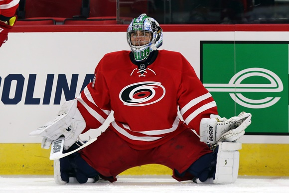 Photo: The Carolina Hurricanes bolstered their depth between the pipes when they selected Alex Nedeljkovic in the 2nd round (37th overall) of the 2014 NHL Draft. (Courtesy of Andy Mead/YCJ/Icon Sportswire)