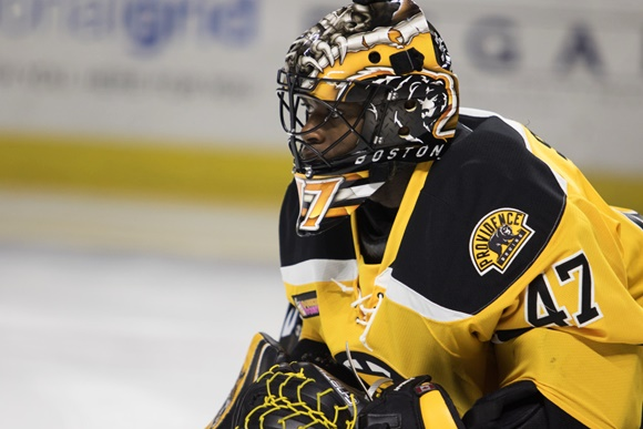 Photo: Malcolm Subban had another good year in Providence in 2014-15, finishing with a .921 save percentage and 2.44 goals-against average. (Courtesy of Corey Silvia/Icon Sportswire)