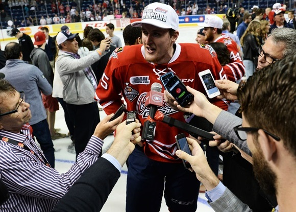 Photo: Michael McCarron's three points helped the Oshawa Generals win the Memorial Cup Championship on May 31st. (Courtesy of Aaron Bell/CHL Images)