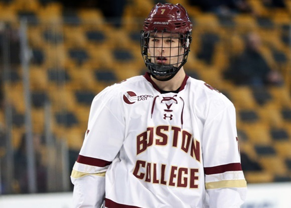 Photo: Noah Hanifin made Hockey East's All-Rookie Team and Second All-Star Team after scoring 23 points during his freshman—and likely only—NCAA season. (Courtesy of Fred Kfoury III/Icon Sportswire)