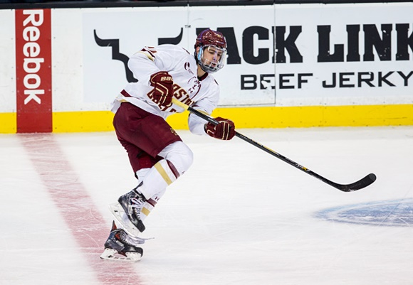 Photo: Former Waterloo Blackhawks centre Zach Sanford returns to Boston College this fall for his sophomore NCAA season. (Courtesy of Richard T Gagnon/Getty Images)