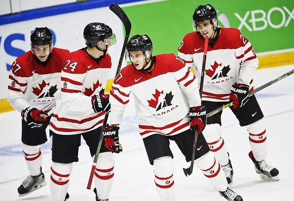 Mitchell Stephens, Travis Dermott, Travis Konecny, and Roland McKeown - Team Canada - 2016 IIHF World Junior Ice Hockey Championship
