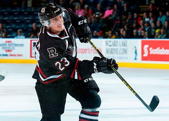 Photo: Michael Spacek has 40 points (13 goals, 27 assists) during his first season overseas with the WHL's Red Deer Rebels. (Courtesy of Marissa Baecker/Getty Images)