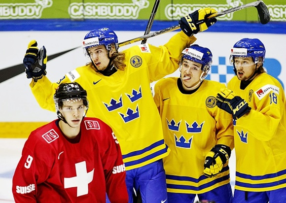 William Lagesson, Dmytro Timashow, and Rasmus Asplund - Team Sweden - 2016 IIHF World Junior Championship
