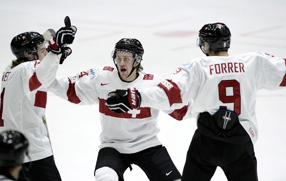 Julien Privet, Dario Meyer and Marco Forrer - Team Switzerland - 2016 IIHF World Junior Championship