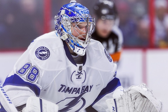 Photo: Andrei Vasilevskiy would be leading the AHL in save percentage (.935) if the Lightning hadn't decided that he was ready to become an NHL goaltender midway through the season. (Courtesy of Richard A. Whittaker/Icon Sportswire)
