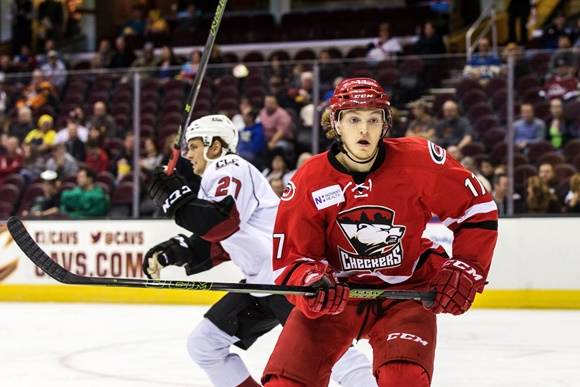 Photo: Tyler Ganly has split the season between the AHL and the ECHL--with success in both. (Courtesy of Frank Jansky/Icon Sportswire)