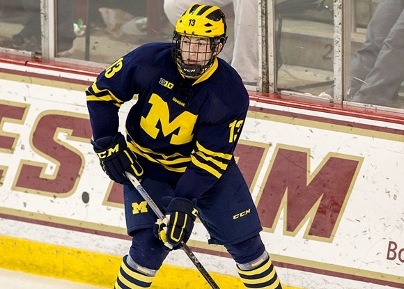 Photo: Zach Werenski finished with 36 points in 36 games for the University of Michigan. (Courtesy of Richard T Gagnon/Getty Images)